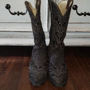 Corral Ladies Brown/Black Sequin Inlay Boot R1152